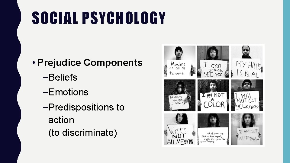 SOCIAL PSYCHOLOGY • Prejudice Components –Beliefs –Emotions –Predispositions to action (to discriminate)