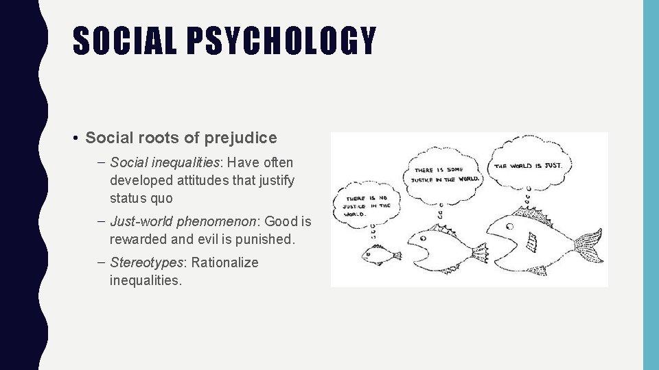 SOCIAL PSYCHOLOGY • Social roots of prejudice – Social inequalities: Have often developed attitudes