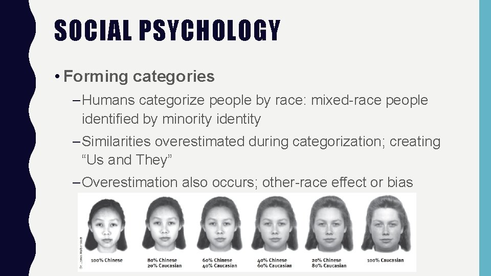 SOCIAL PSYCHOLOGY • Forming categories – Humans categorize people by race: mixed-race people identified