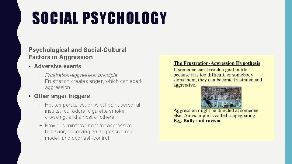 SOCIAL PSYCHOLOGY Psychological and Social-Cultural Factors in Aggression • Adversive events – Frustration-aggression principle: