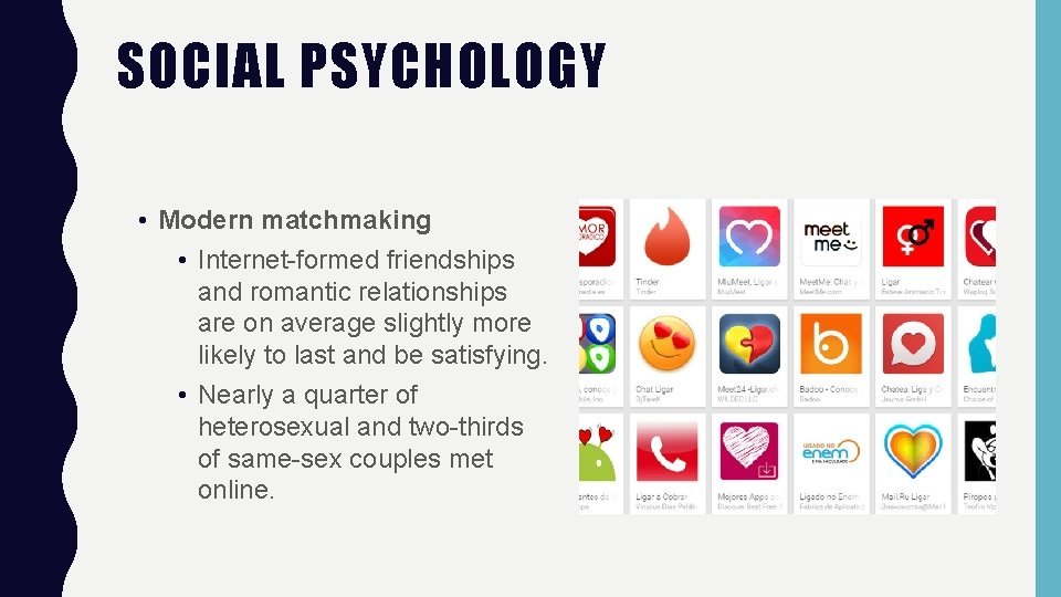 SOCIAL PSYCHOLOGY • Modern matchmaking • Internet-formed friendships and romantic relationships are on average