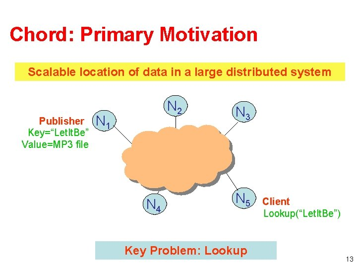 """Chord: Primary Motivation Scalable location of data in a large distributed system Publisher Key=""""Let."""