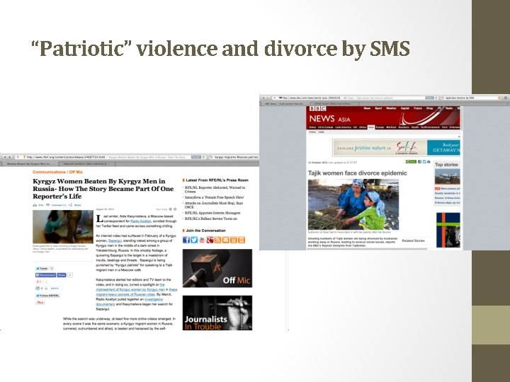 """""""Patriotic"""" violence and divorce by SMS"""