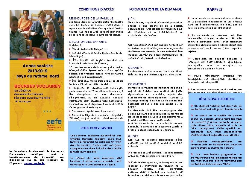 CONDITIONS D'ACCÈS RESSOURCES DE LA FAMILLE Les ressources de la famille doivent s'inscrire dans