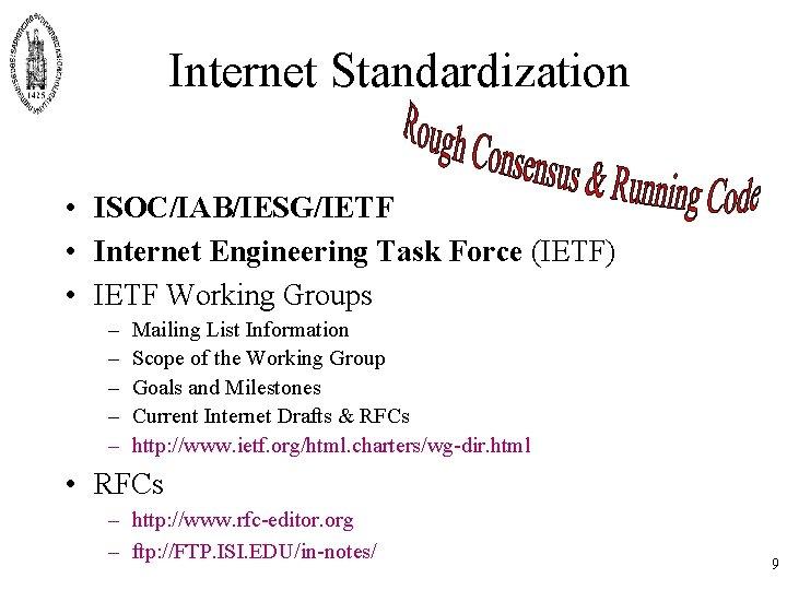 Internet Standardization • ISOC/IAB/IESG/IETF • Internet Engineering Task Force (IETF) • IETF Working Groups