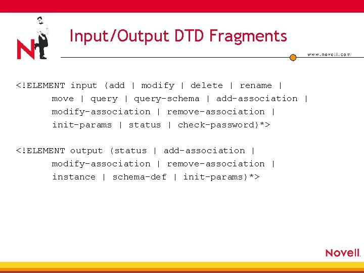 Input/Output DTD Fragments <!ELEMENT input (add   modify   delete   rename   move