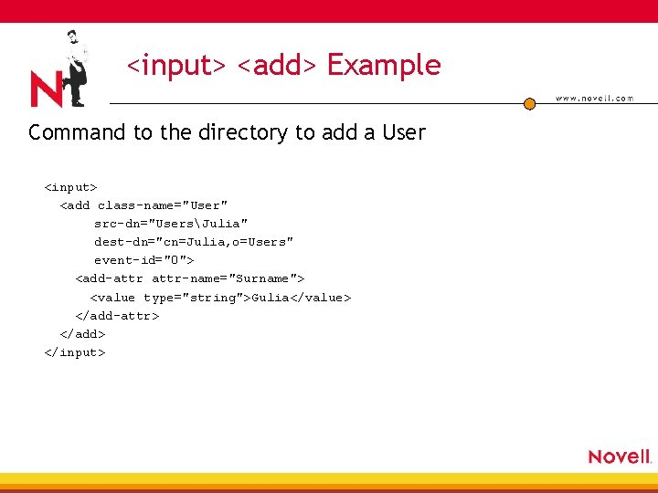 """<input> <add> Example Command to the directory to add a User <input> <add class-name=""""User"""""""