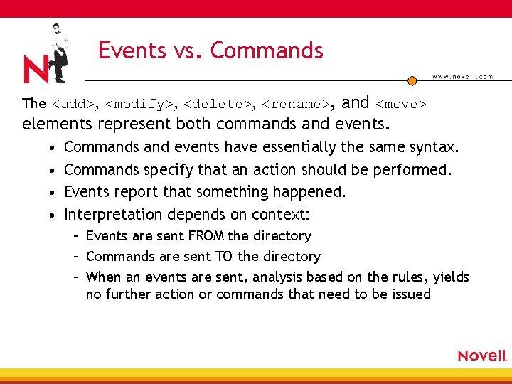Events vs. Commands The <add>, <modify>, <delete>, <rename>, and <move> elements represent both commands