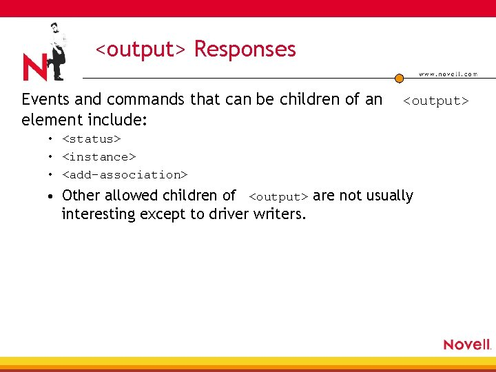 <output> Responses Events and commands that can be children of an element include: <output>
