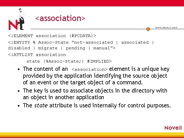"<association> <!ELEMENT association (#PCDATA)> <!ENTITY % Assoc-State ""not-associated   disabled   migrate   pending"