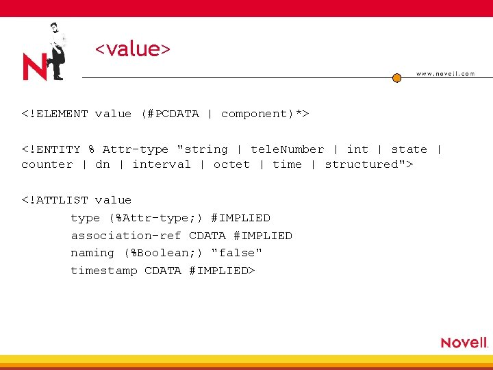 """<value> <!ELEMENT value (#PCDATA   component)*> <!ENTITY % Attr-type """"string   tele. Number  """