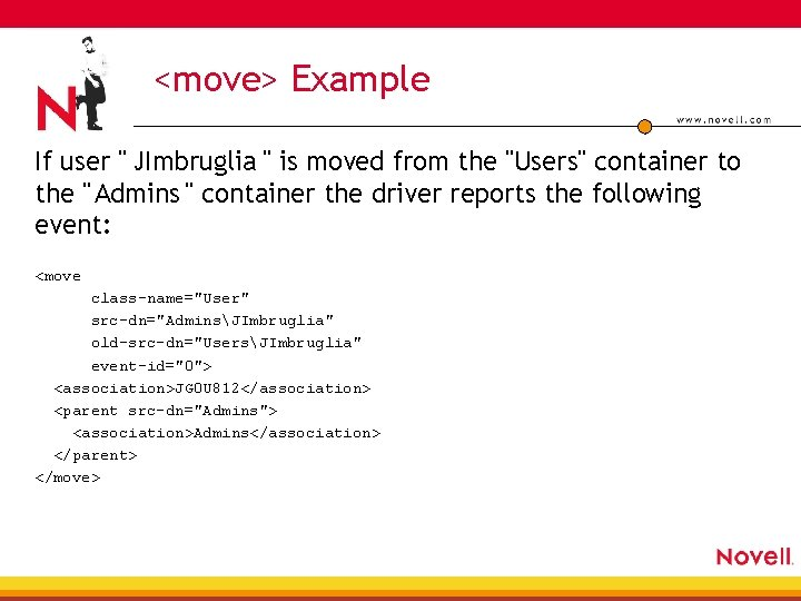 """<move> Example If user """" JImbruglia """" is moved from the """"Users"""" container to"""