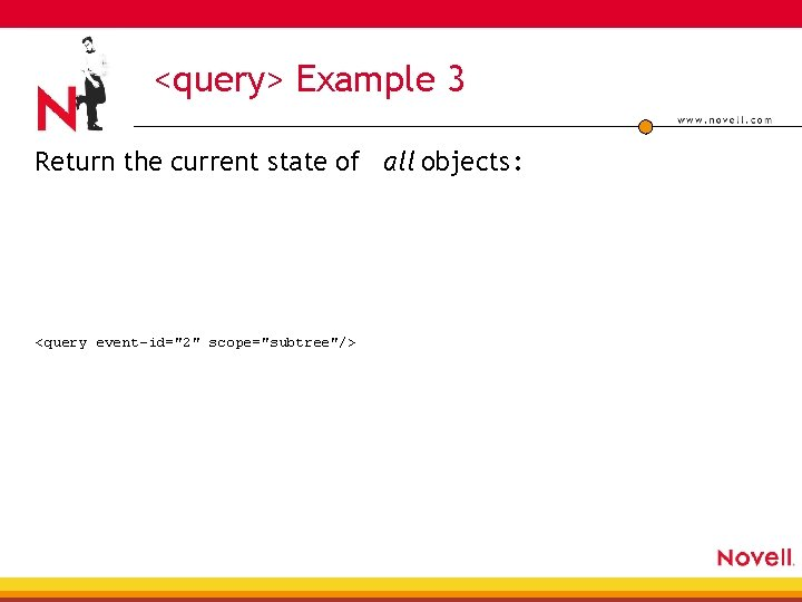 """<query> Example 3 Return the current state of all objects : <query event-id=""""2"""" scope=""""subtree""""/>"""