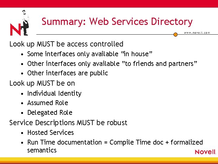 Summary: Web Services Directory Look up MUST be access controlled • Some interfaces only