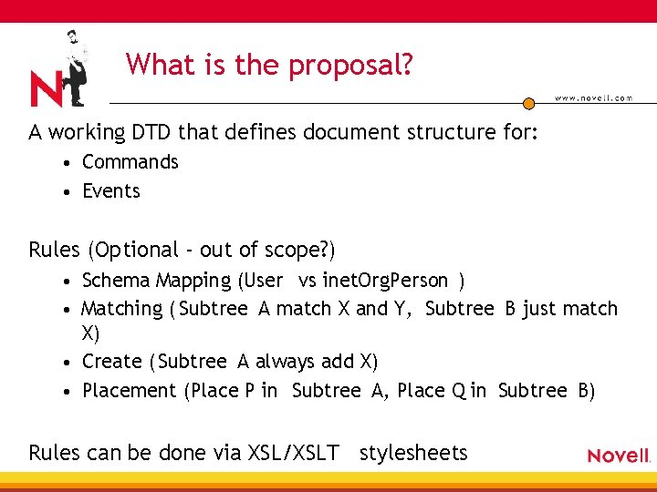 What is the proposal? A working DTD that defines document structure for: • Commands