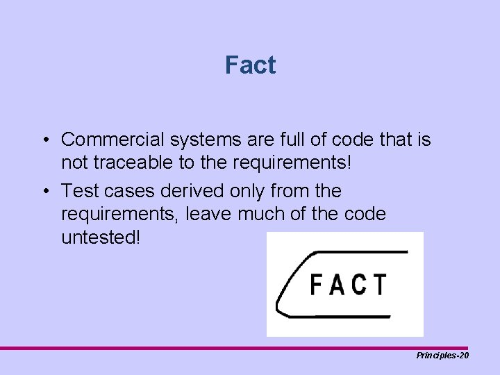 Fact • Commercial systems are full of code that is not traceable to the