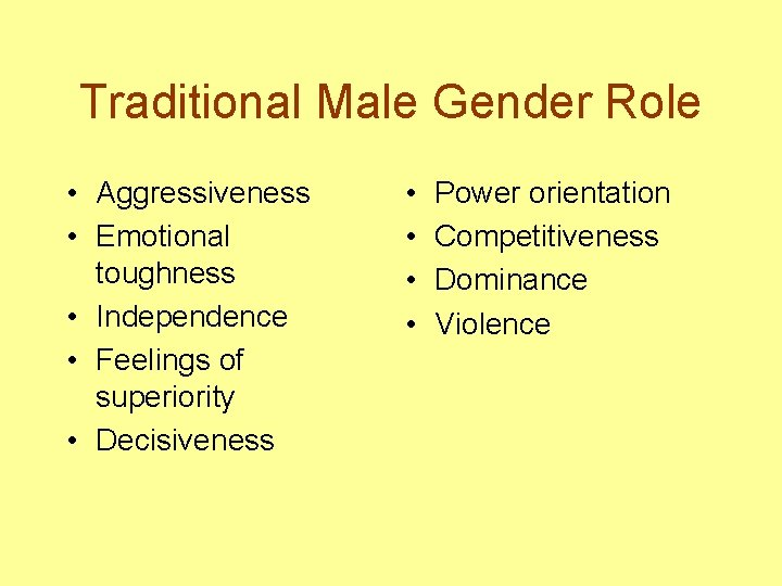 Traditional Male Gender Role • Aggressiveness • Emotional toughness • Independence • Feelings of