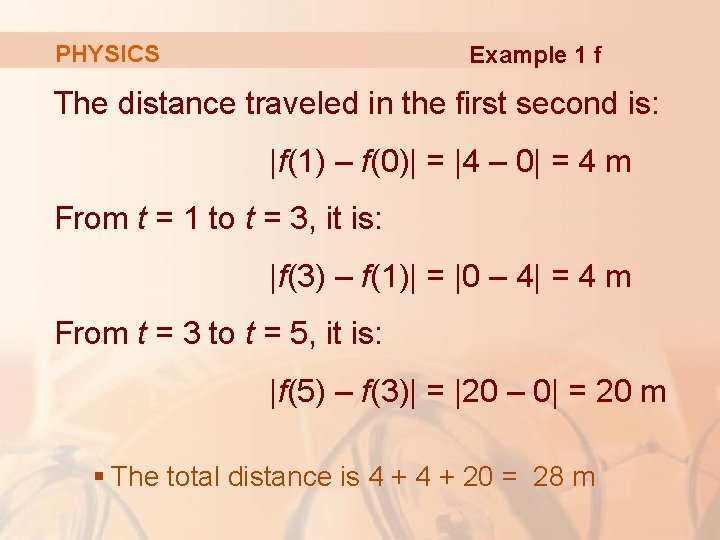 PHYSICS Example 1 f The distance traveled in the first second is:  f(1) –