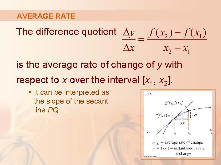 AVERAGE RATE The difference quotient is the average rate of change of y with