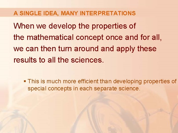 A SINGLE IDEA, MANY INTERPRETATIONS When we develop the properties of the mathematical concept