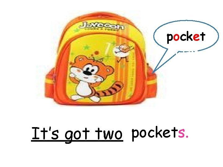 pocket 口袋 It's got two pockets.