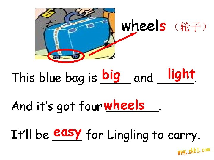 wheels (轮子) light big and _____. This blue bag is ____ And it's got