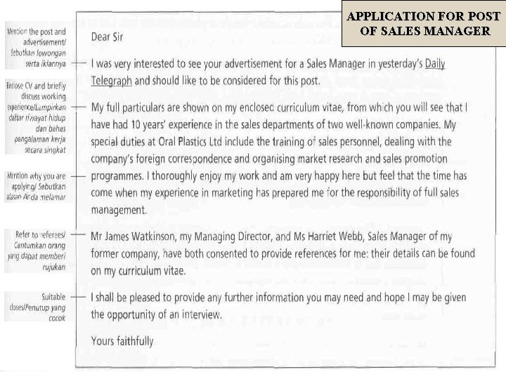APPLICATION FOR POST OF SALES MANAGER