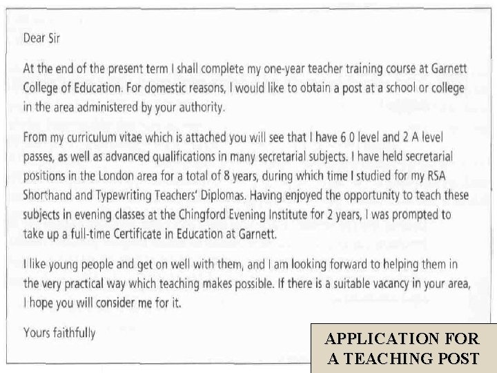 APPLICATION FOR A TEACHING POST