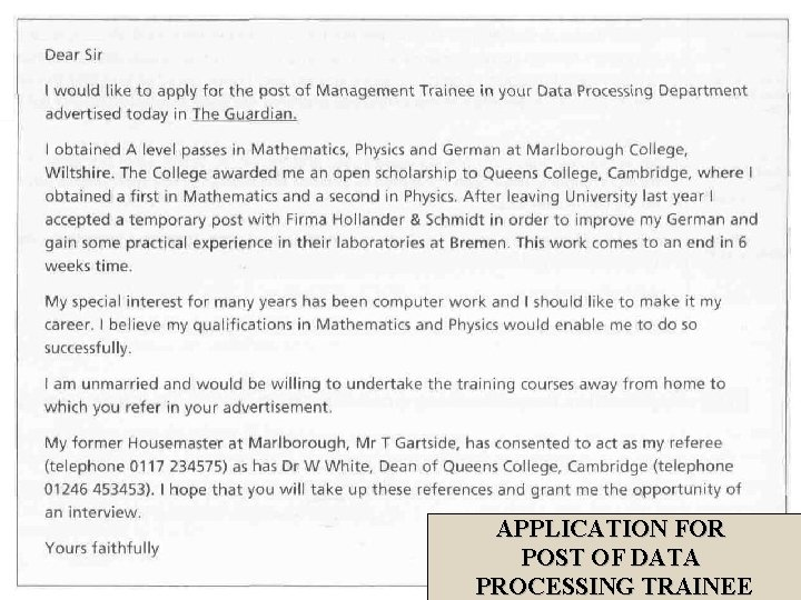 APPLICATION FOR POST OF DATA PROCESSING TRAINEE