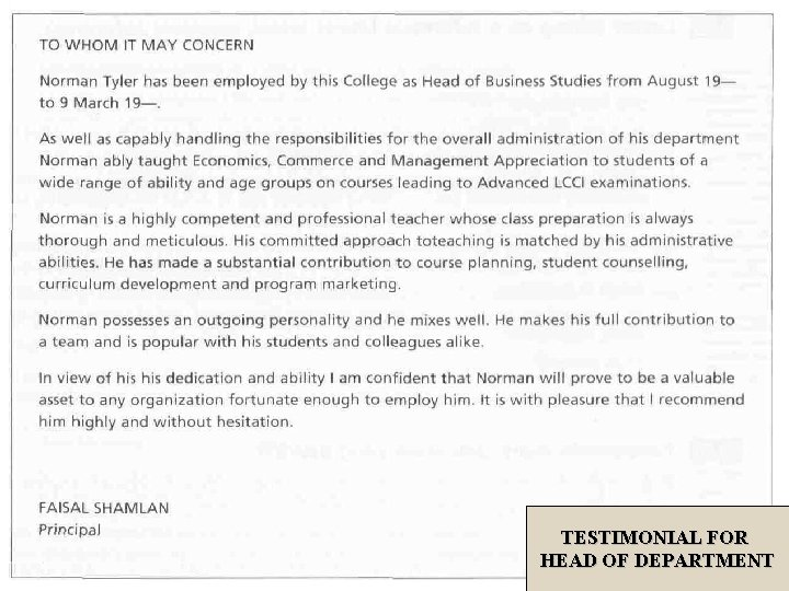 TESTIMONIAL FOR HEAD OF DEPARTMENT