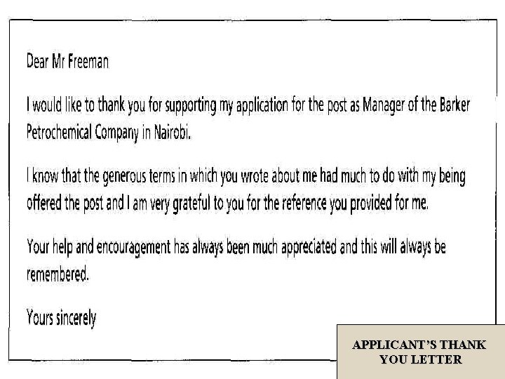 APPLICANT'S THANK YOU LETTER