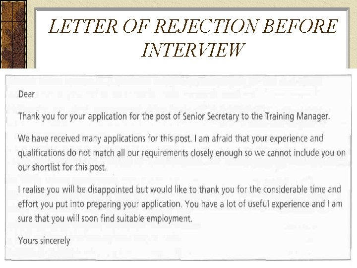 LETTER OF REJECTION BEFORE INTERVIEW