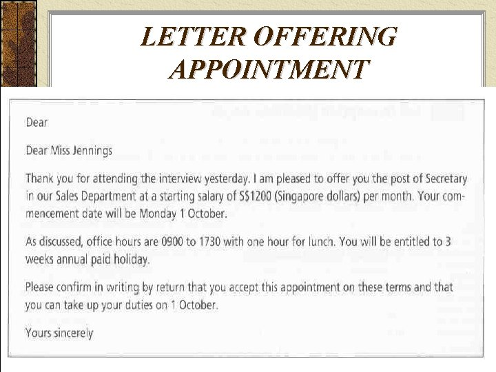 LETTER OFFERING APPOINTMENT