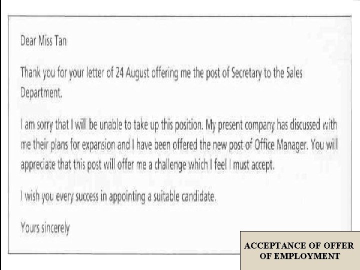 ACCEPTANCE OF OFFER OF EMPLOYMENT