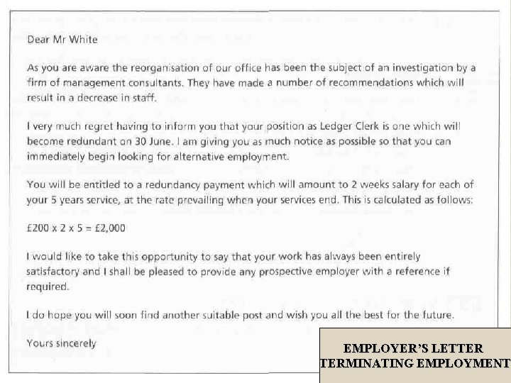 EMPLOYER'S LETTER TERMINATING EMPLOYMENT