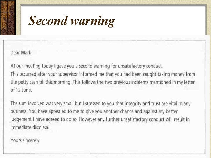 Second warning