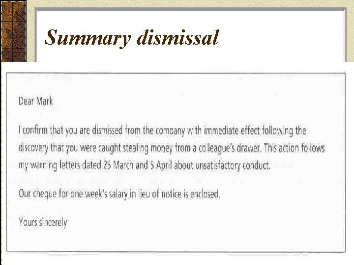 Summary dismissal