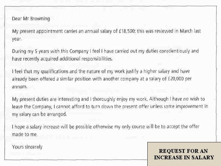 REQUEST FOR AN INCREASE IN SALARY
