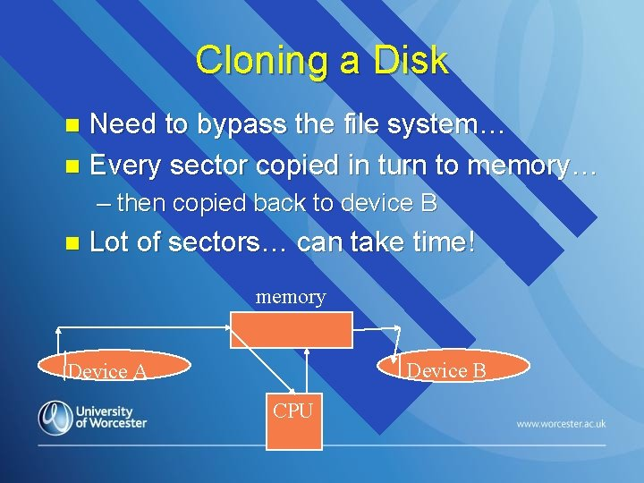 Cloning a Disk Need to bypass the file system… n Every sector copied in