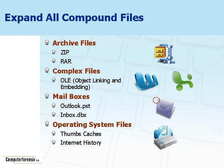 Expand All Compound Files Archive Files ZIP RAR Complex Files OLE (Object Linking and