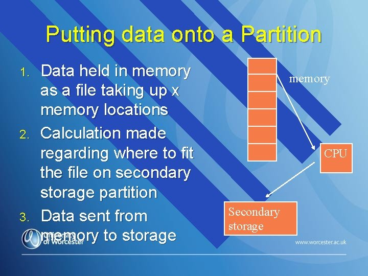 Putting data onto a Partition 1. 2. 3. Data held in memory as a