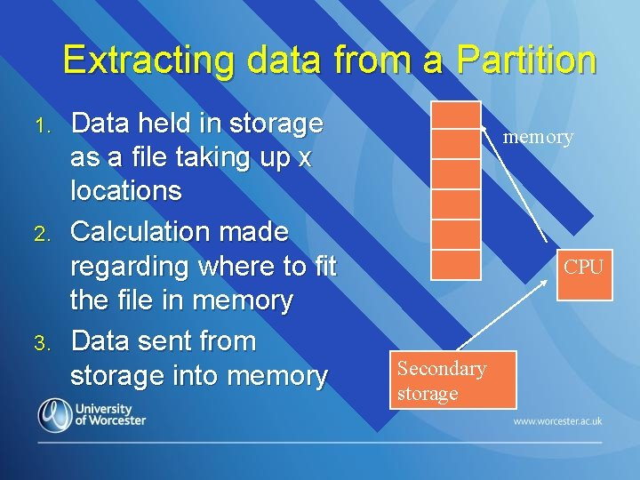 Extracting data from a Partition 1. 2. 3. Data held in storage as a