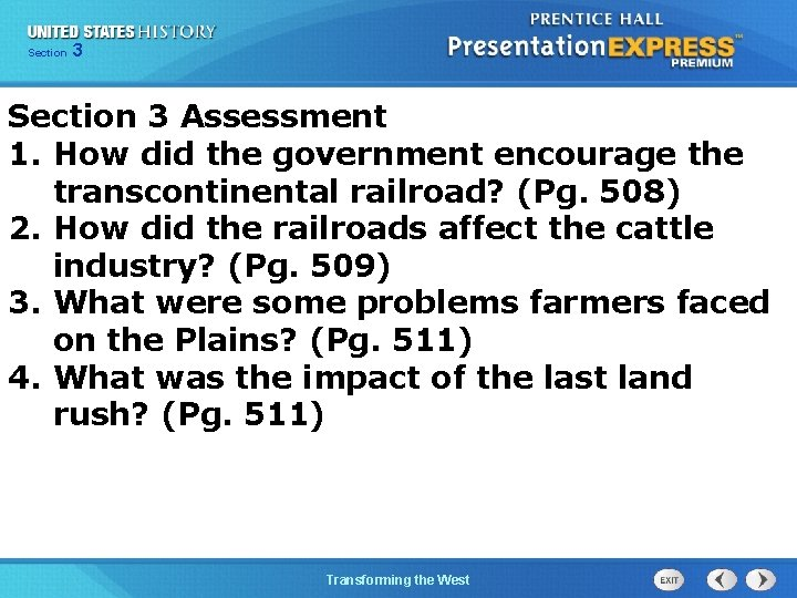 Chapter Section 3 25 Section 1 Section 3 Assessment 1. How did the government