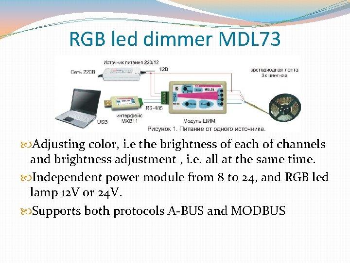 RGB led dimmer MDL 73 Adjusting color, i. e the brightness of each of