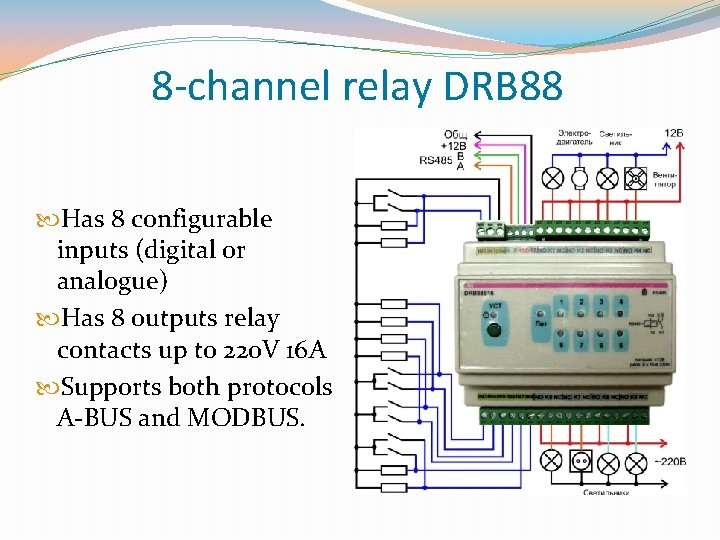 8 -channel relay DRB 88 Has 8 configurable inputs (digital or analogue) Has 8