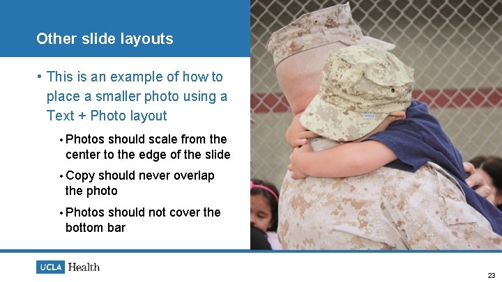 Other slide layouts • This is an example of how to place a smaller