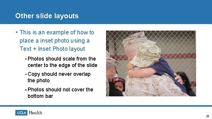 Other slide layouts • This is an example of how to place a inset