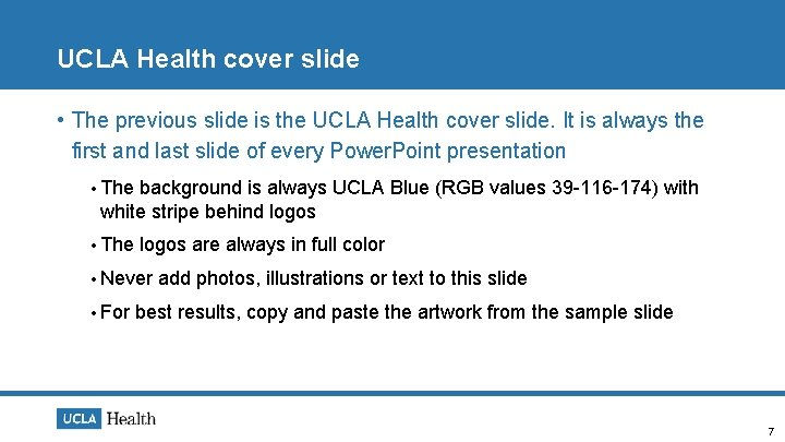 UCLA Health cover slide • The previous slide is the UCLA Health cover slide.