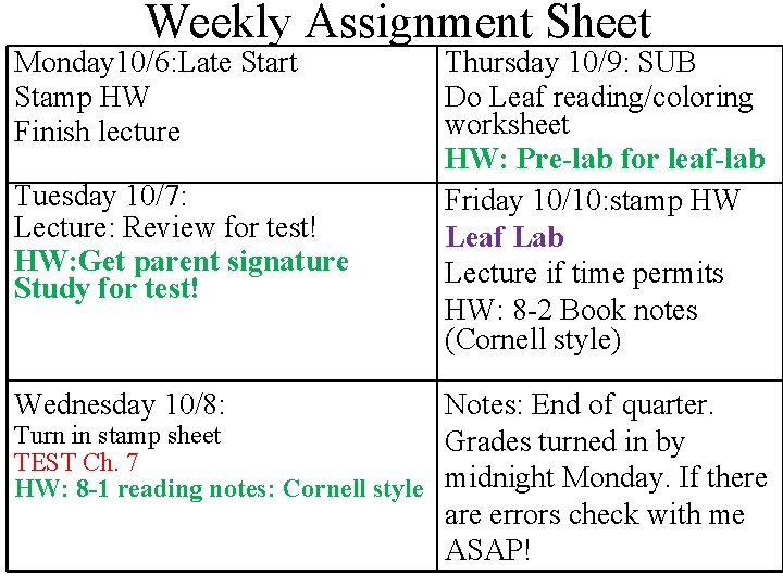 Weekly Assignment Sheet Monday 10/6: Late Start Stamp HW Finish lecture Tuesday 10/7: Lecture: