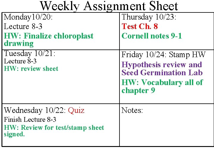 Weekly Assignment Sheet Monday 10/20: Lecture 8 -3 HW: Finalize chloroplast drawing Tuesday 10/21: